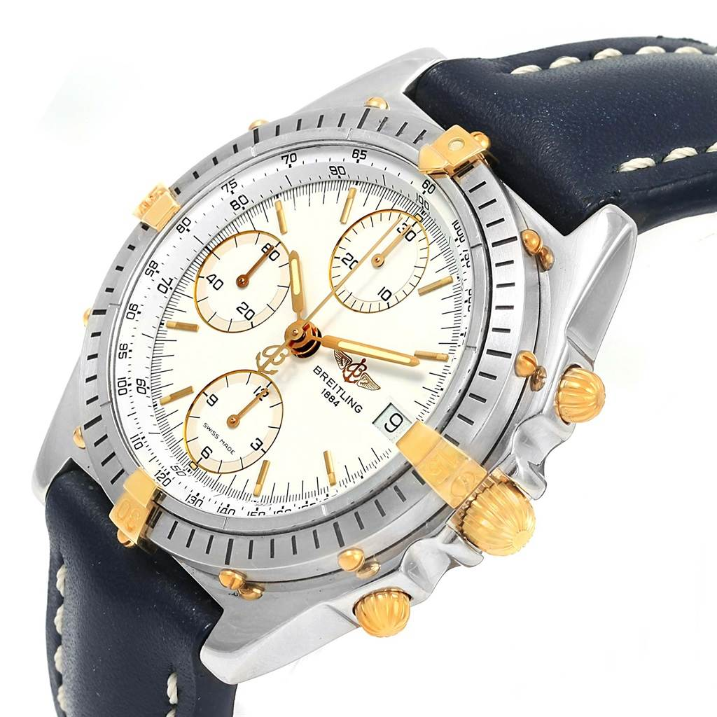 14992 Breitling Chronomat Steel 18K Yellow Gold White Dial Mens Watch B13047 SwissWatchExpo