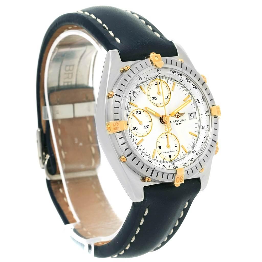 Breitling Chronomat Steel 18K Yellow Gold White Dial Mens Watch B13047 SwissWatchExpo