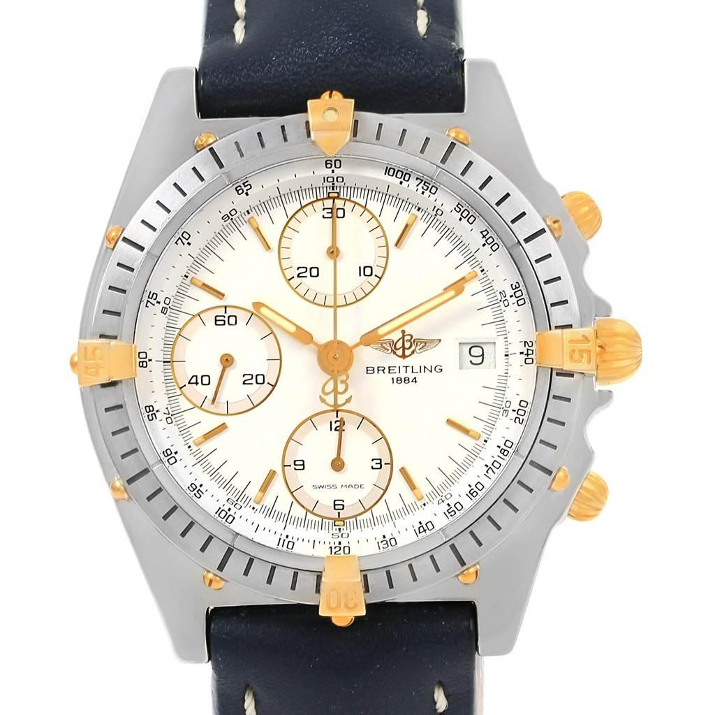 14992 Breitling Chronomat Steel 18K Yellow Gold White Dial Mens Watch B13047 SwissWatchExpo