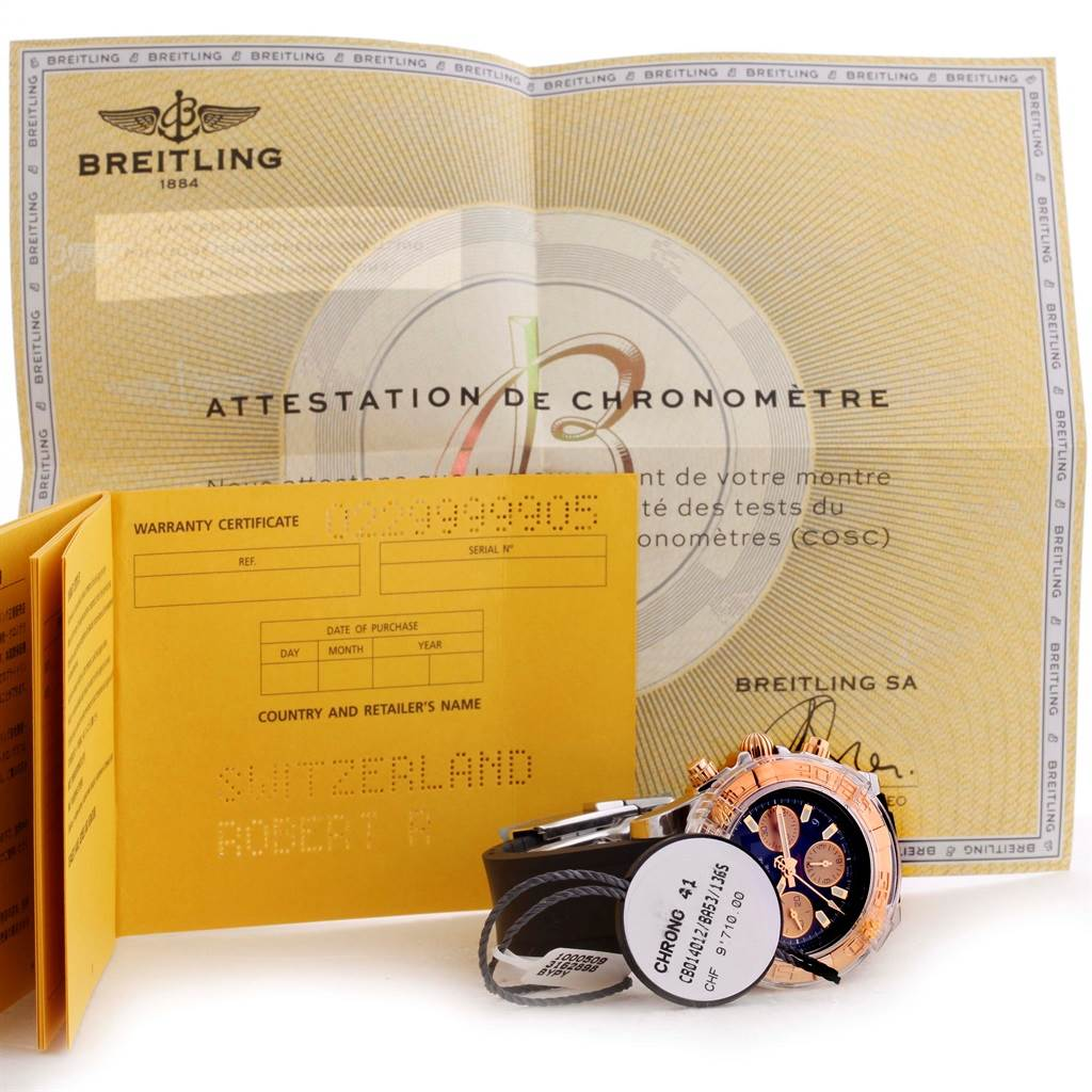 Breitling Chronomat 41 Chrono Steel Rose Gold Watch CB0140 Box Papers SwissWatchExpo