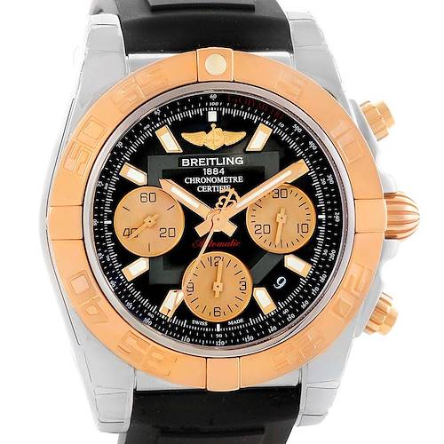 Photo of Breitling Chronomat 41 Chrono Steel Rose Gold Watch CB0140 Box Papers
