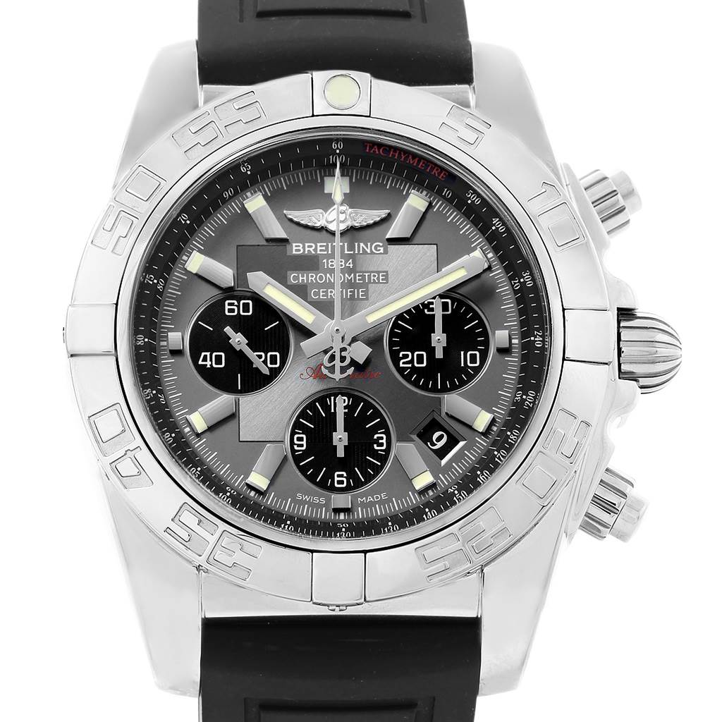 19956 Breitling Chronomat 01 Grey Dial Rubber Strap Steel Mens Watch AB0110 SwissWatchExpo