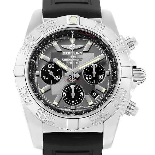 Photo of Breitling Chronomat 01 Grey Dial Rubber Strap Steel Mens Watch AB0110