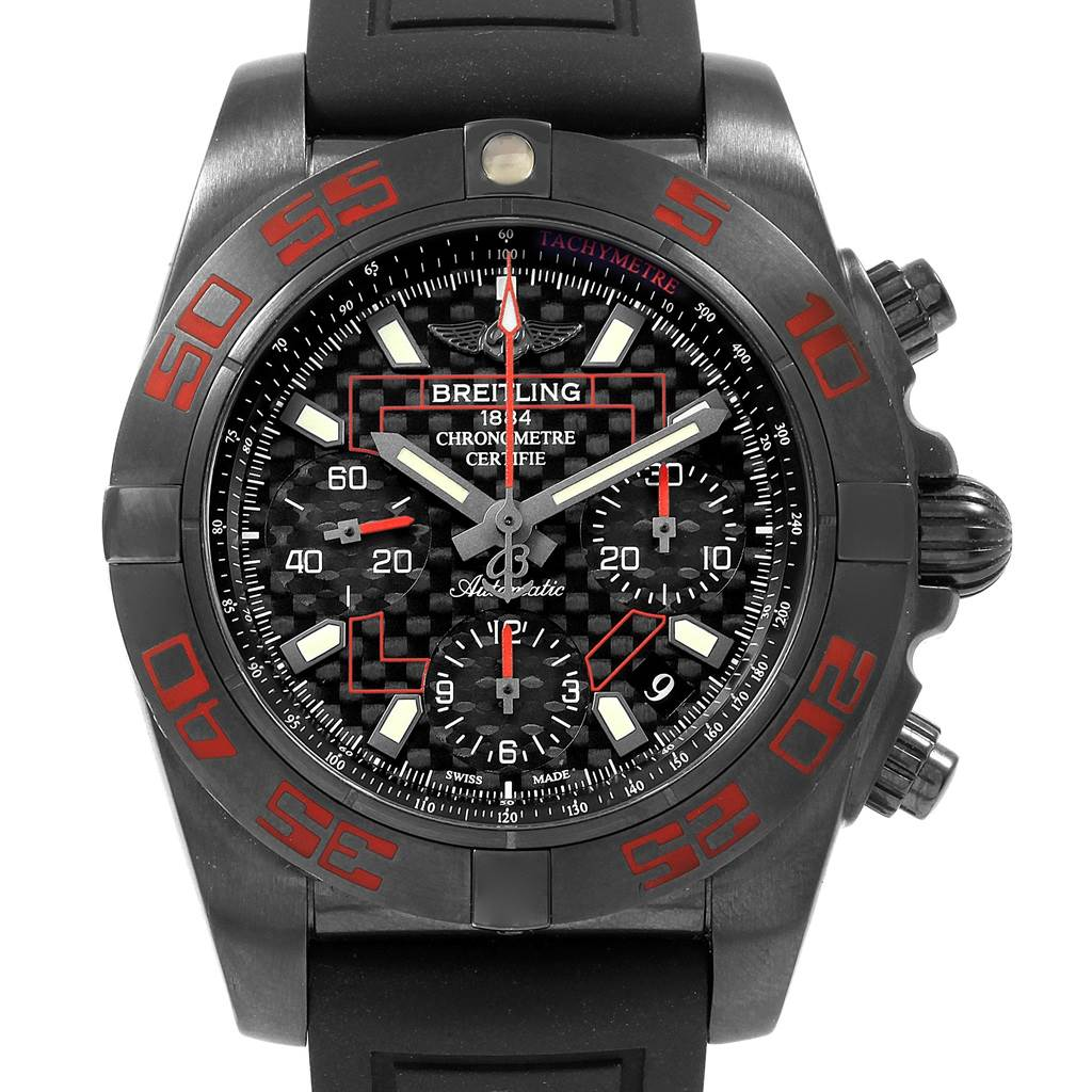 20180 Breitling Chronomat Blacksteel Carbon Limited Edition Mens Watch MB0141 SwissWatchExpo