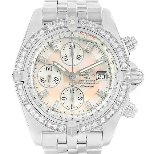 Photo of Breitling Chronomat Evolution Steel MOP Diamond Mens Watch A13356