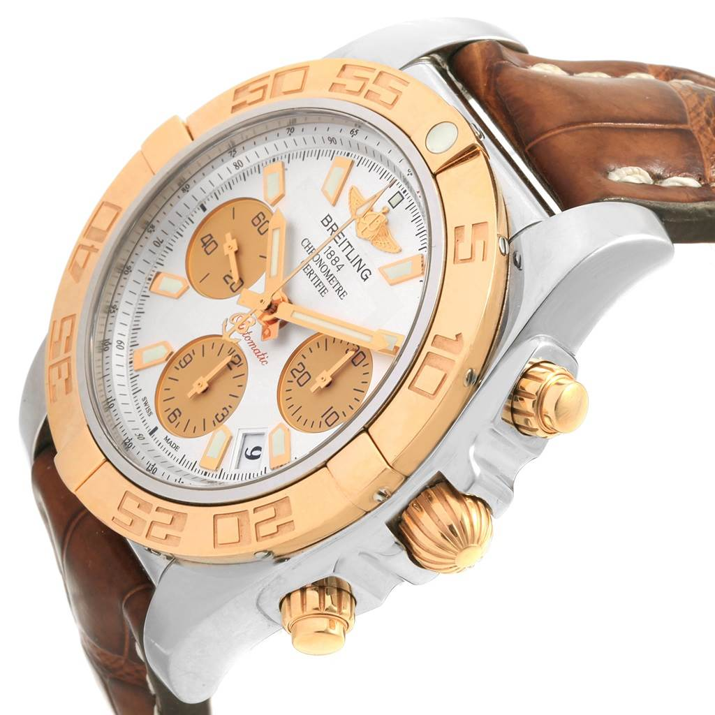 20471 Breitling Chronomat 41 Chrono Steel Rose Gold Silver Dial Watch CB0140 SwissWatchExpo