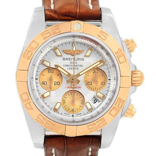 Photo of Breitling Chronomat 41 Chrono Steel Rose Gold Silver Dial Watch CB0140