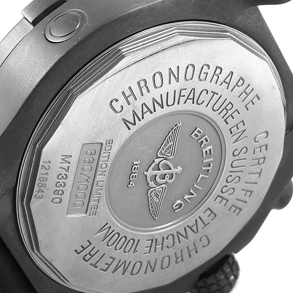 Breitling Avenger Seawolf Blacksteel Chrono Yellow Hands Watch M73390 SwissWatchExpo