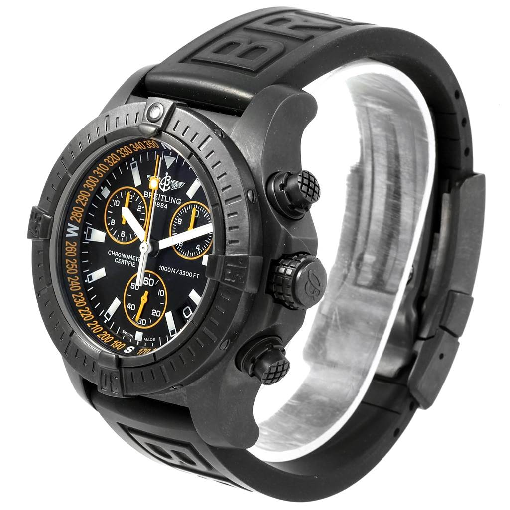 20915 Breitling Avenger Seawolf Blacksteel Chrono Yellow Hands Watch M73390 SwissWatchExpo