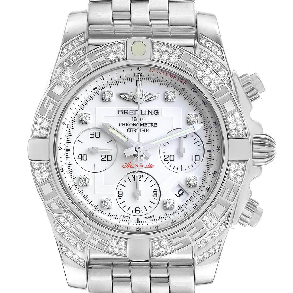 22851 Breitling Chronomat Evolution 41 Steel Diamond Mens Watch AB0140 Box Papers SwissWatchExpo