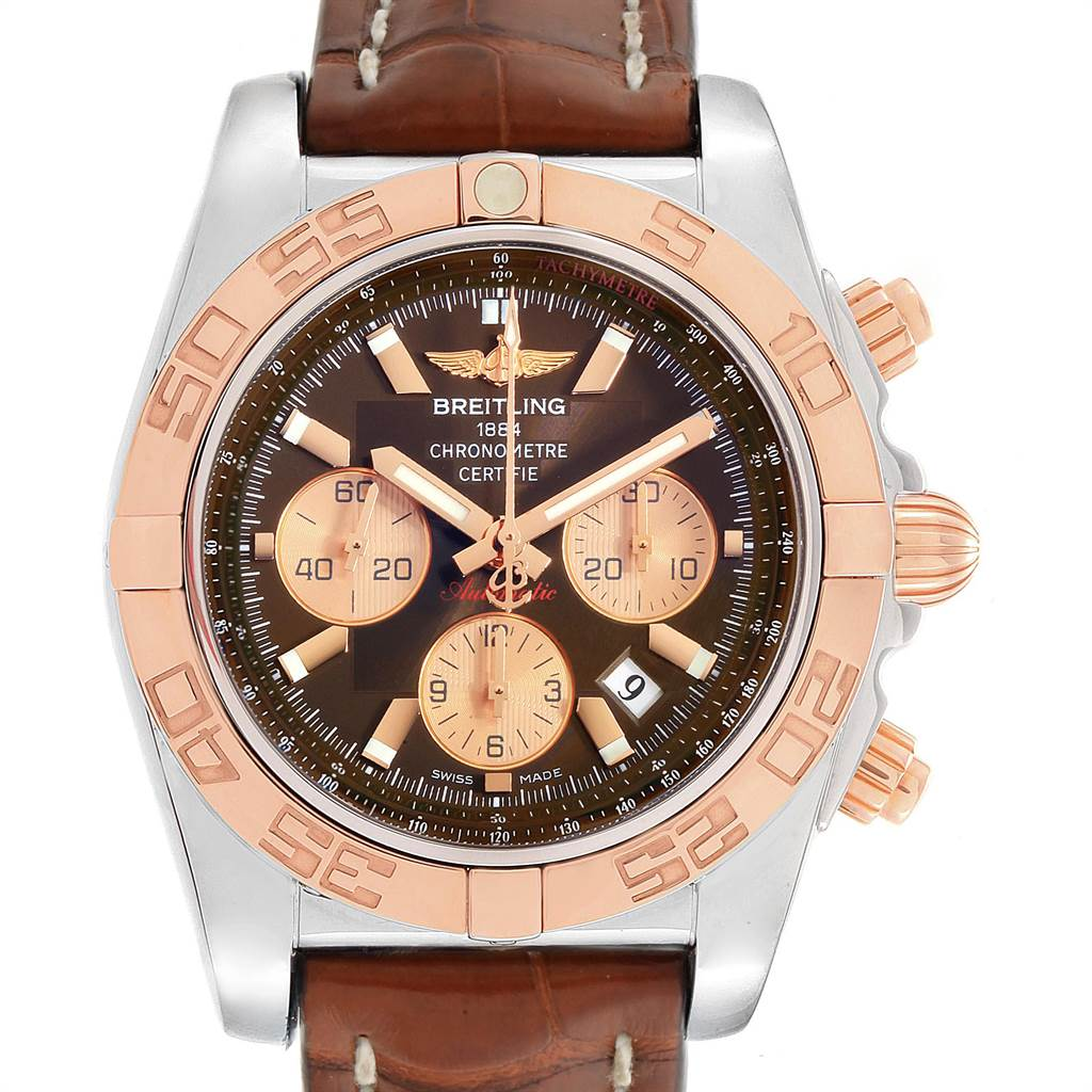 Breitling Chronomat Evolution Steel Rose Gold Brown Dial Watch CB0110 SwissWatchExpo