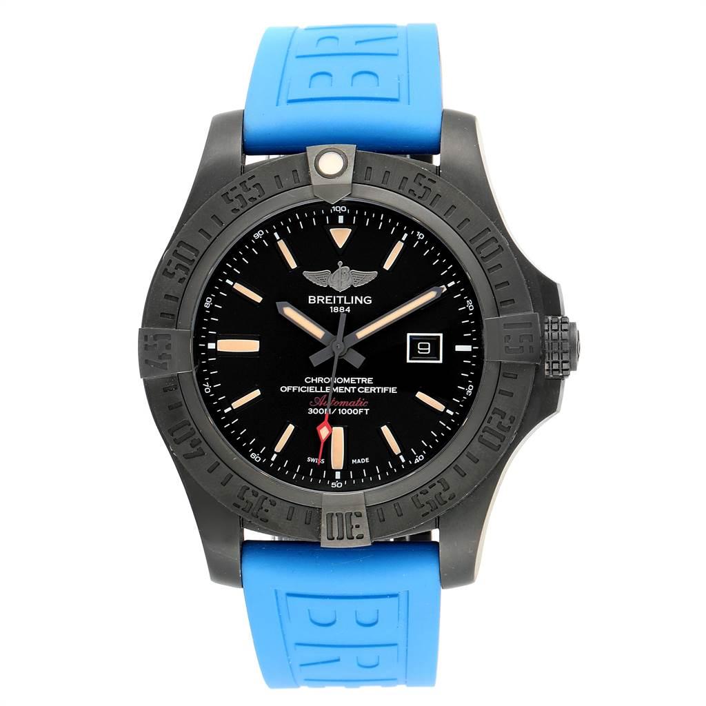 Breitling Avenger Blackbird 48 Titanium Rubber Strap Mens Watch V17310 SwissWatchExpo