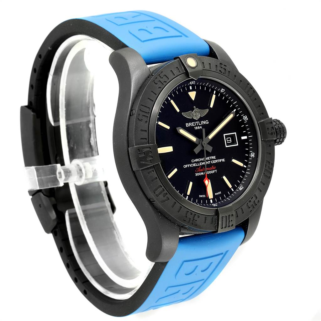 23434 Breitling Avenger Blackbird 48 Titanium Rubber Strap Mens Watch V17310 SwissWatchExpo