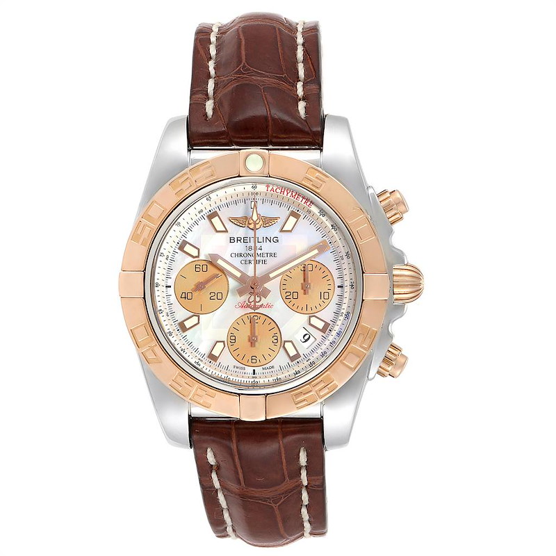 Breitling Chronomat 41 Steel Rose Gold MOP Dial Watch CB0140 Box Papers SwissWatchExpo
