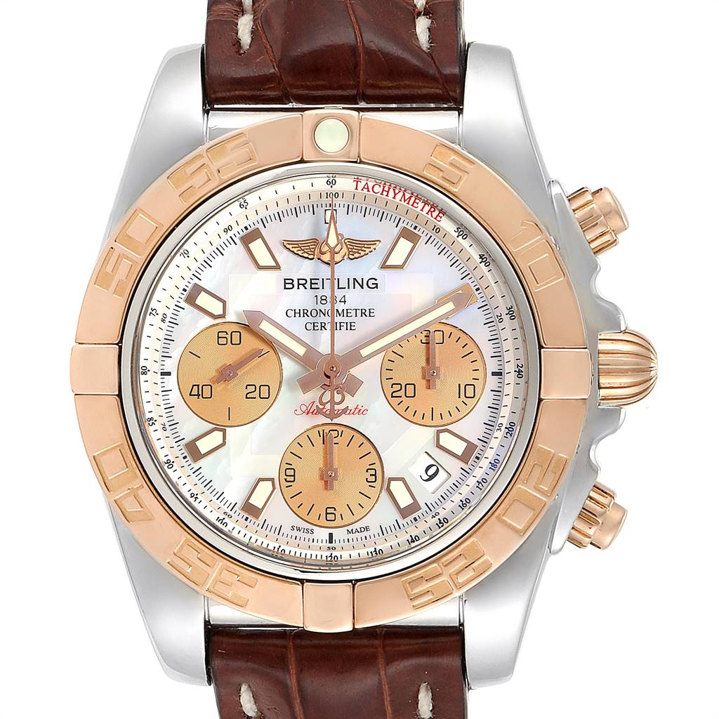 24888 Breitling Chronomat 41 Steel Rose Gold MOP Dial Watch CB0140 Box Papers SwissWatchExpo