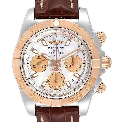 Photo of Breitling Chronomat 41 Steel Rose Gold MOP Dial Watch CB0140 Box Papers
