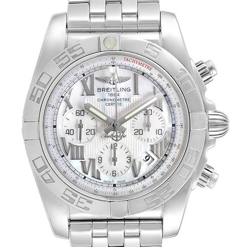 Photo of Breitling Chronomat 01 MOP Dial Steel Mens Watch AB0110 Box