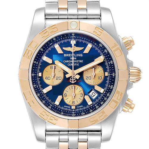 Photo of Breitling Chronomat Evolution Steel Rose Gold Mens Watch CB0110 Box Card