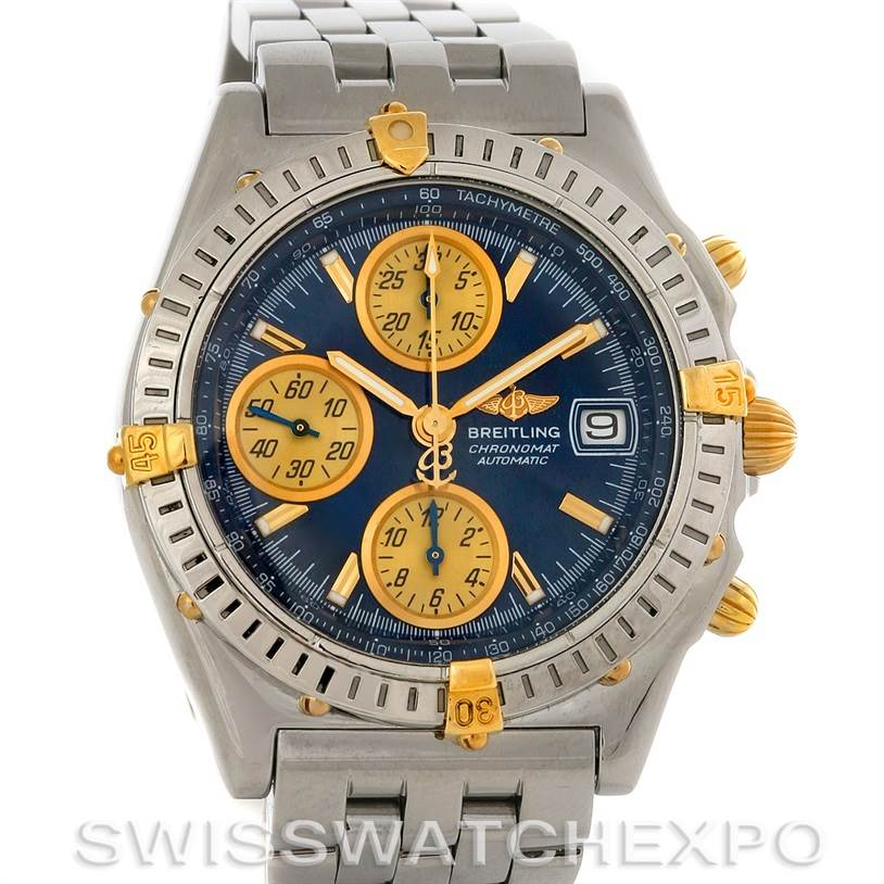 Breitling Chronomat Steel 18K Gold Watch B13050.1 SwissWatchExpo