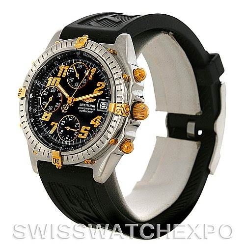 4318 Breitling Windrider Chronomat Steel 18K Yellow Gold Watch B13350 SwissWatchExpo