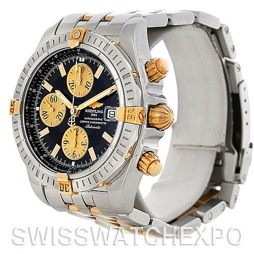5214 Breitling Chronomat Steel 18K Gold Watch B13356 SwissWatchExpo