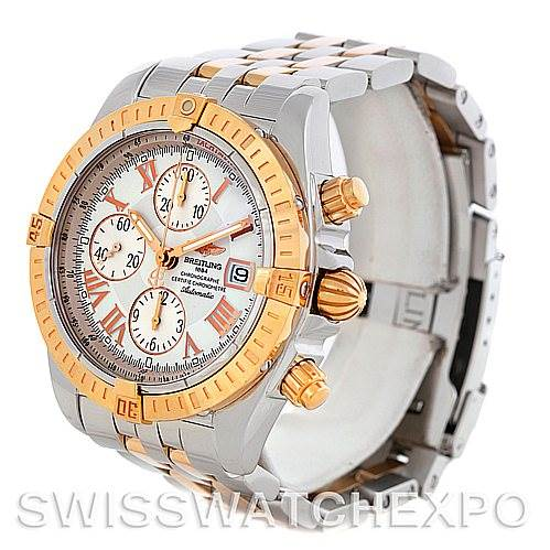 5585 Breitling Chronomat Evolution C13356 Steel 18K Rose Gold Men's Watch SwissWatchExpo