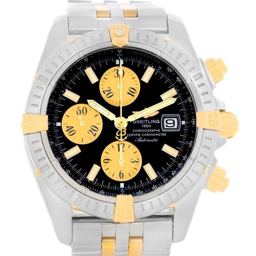 5529 Breitling Chronomat Steel 18K Gold Black Dial Watch B13356 SwissWatchExpo
