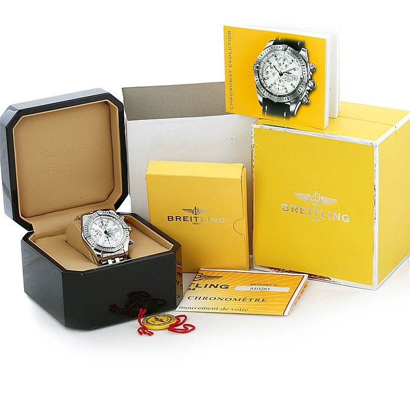 5900 Breitling Chronomat Evolution Steel Mens Watch A13356 SwissWatchExpo