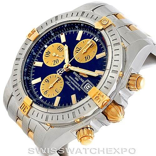 6103 Breitling Chronomat Steel 18K Gold Watch B13356 SwissWatchExpo