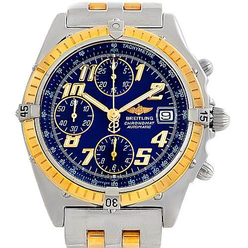 6021 Breitling Windrider Chronomat Steel and 18K Yellow Gold Watch D13050 SwissWatchExpo