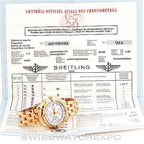 6635 Breitling Chronomat 18K Rose Gold Watch Limited Edition H13047 SwissWatchExpo
