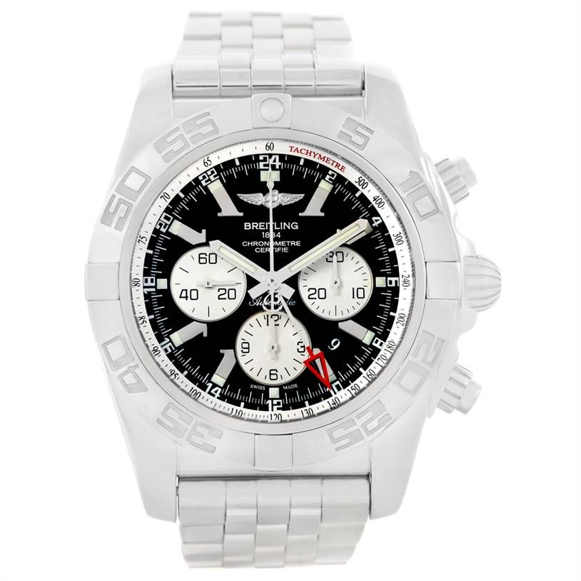 7059 Breitling Chronomat GMT Steel Black Dial Mens Watch AB0410 Box Papers SwissWatchExpo