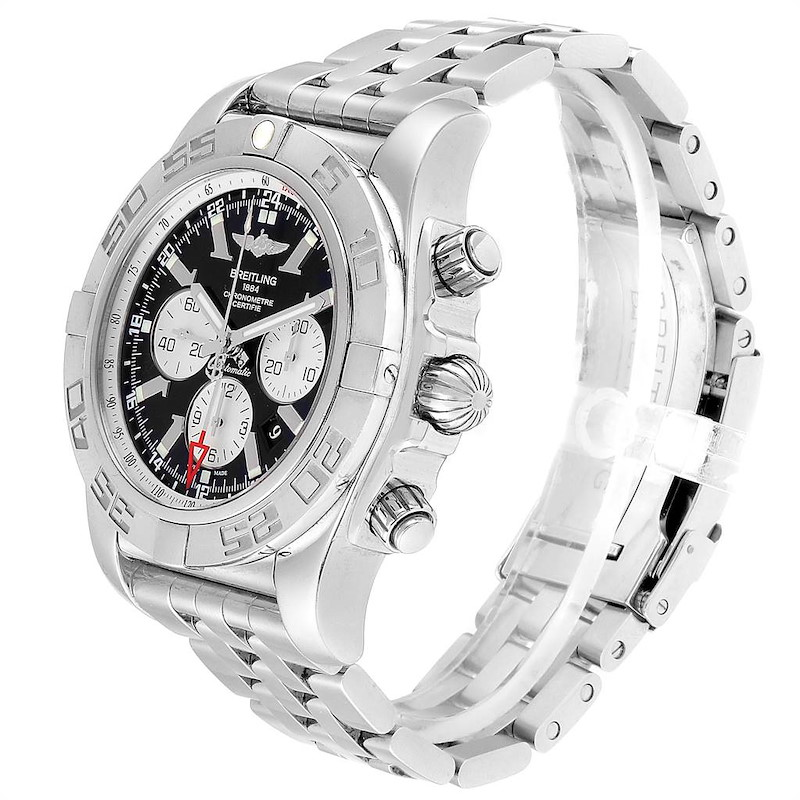 Breitling Chronomat GMT Steel Black Dial Mens Watch AB0410 Box Papers SwissWatchExpo