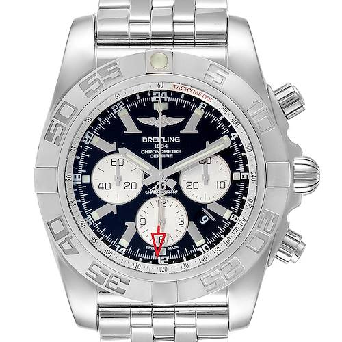 Photo of Breitling Chronomat GMT Steel Black Dial Mens Watch AB0410 Box Papers
