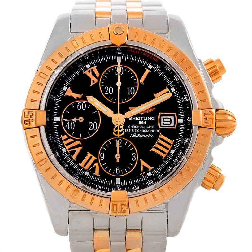 7382 Breitling Chronomat Evolution Steel Rose Gold Watch C13356 SwissWatchExpo