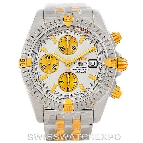 7434 Breitling Chronomat Steel 18K Gold Mens Watch B13356 SwissWatchExpo