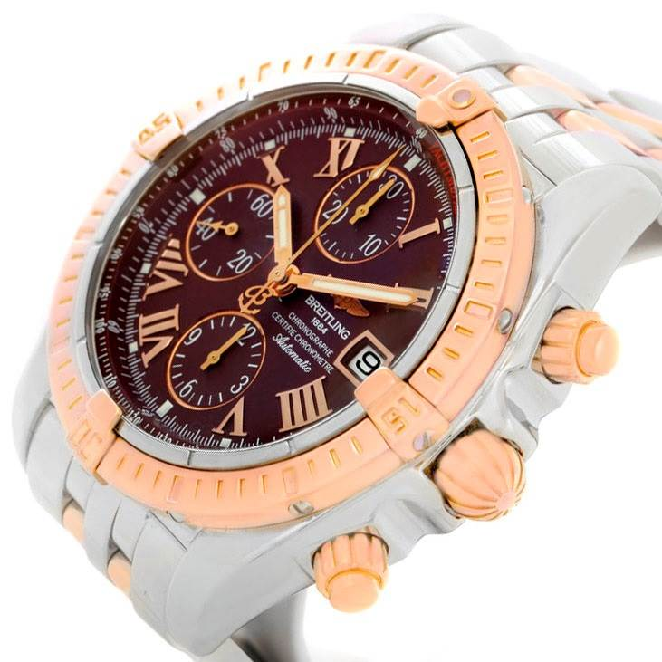 7976 Breitling Chronomat Evolution Steel Rose Gold Watch C13356 SwissWatchExpo