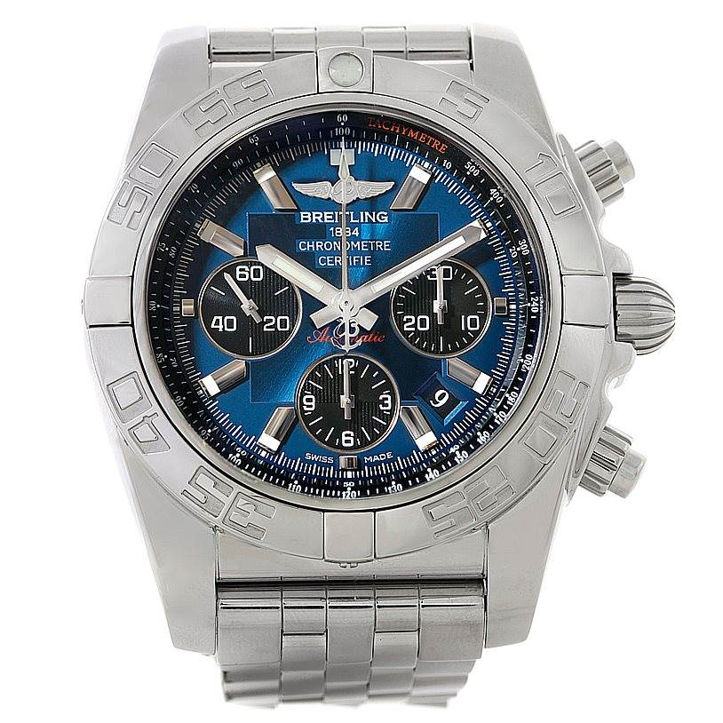 Breitling Chronomat 01 Blue Dial Steel Mens Watch AB0110 SwissWatchExpo