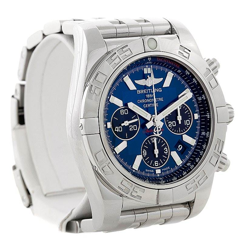 8398 Breitling Chronomat 01 Blue Dial Steel Mens Watch AB0110 SwissWatchExpo