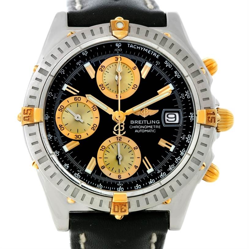 8483 Breitling Chronomat Steel 18K Yellow Gold Watch B13352 SwissWatchExpo