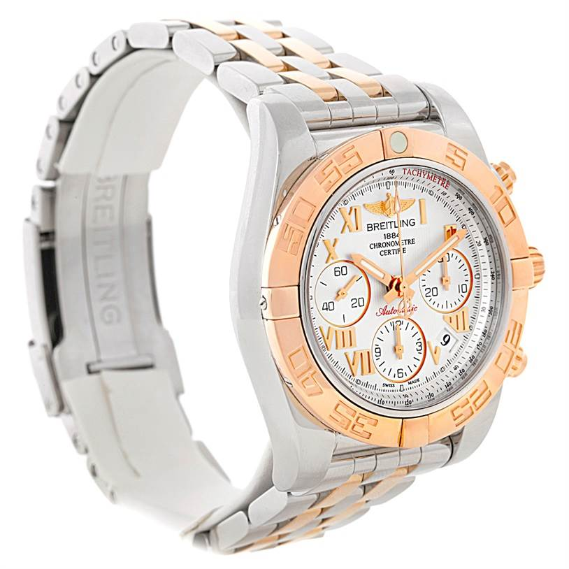 8817 Breitling Chronomat 41 Chronograph Steel Rose Gold Watch CB0140 Box Papers SwissWatchExpo