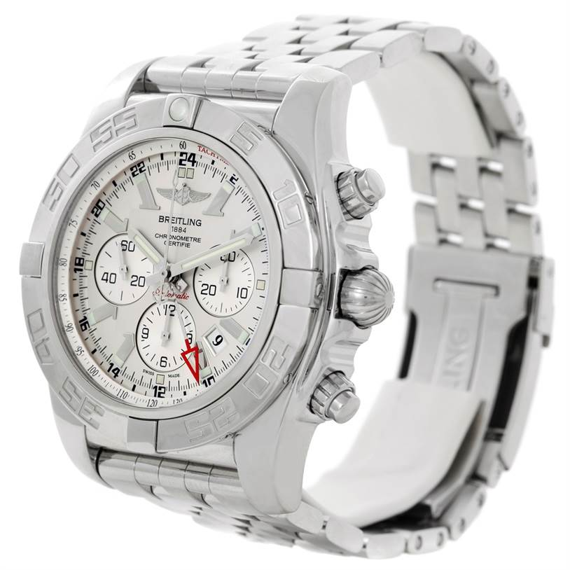 Breitling Chronomat GMT Silver Dial Steel Mens Watch AB0410 SwissWatchExpo