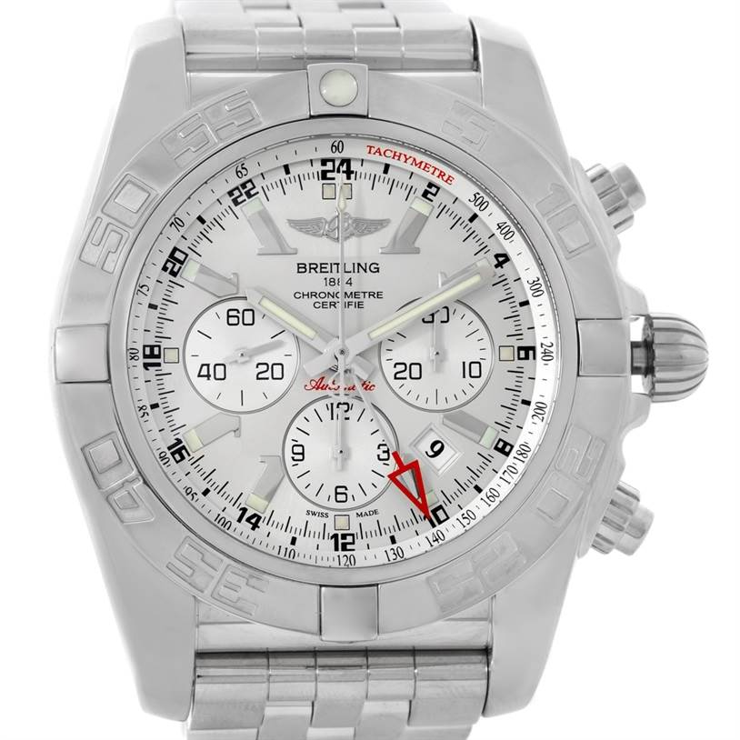 8667 Breitling Chronomat GMT Silver Dial Steel Mens Watch AB0410 SwissWatchExpo