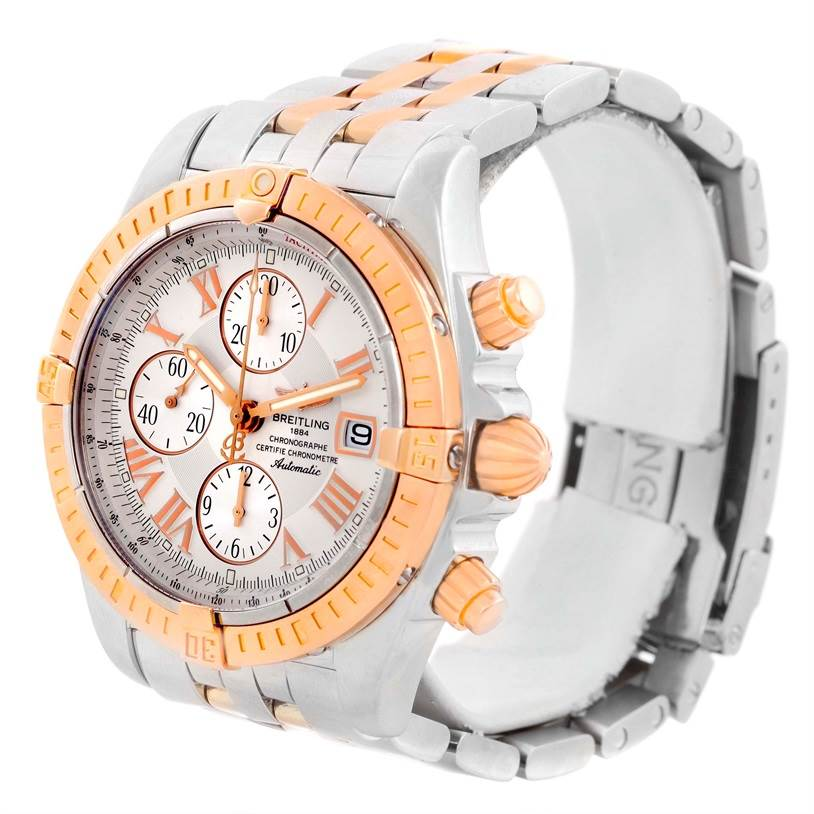 9727 Breitling Chronomat Evolution Steel Rose Gold White Dial Watch C13356 SwissWatchExpo