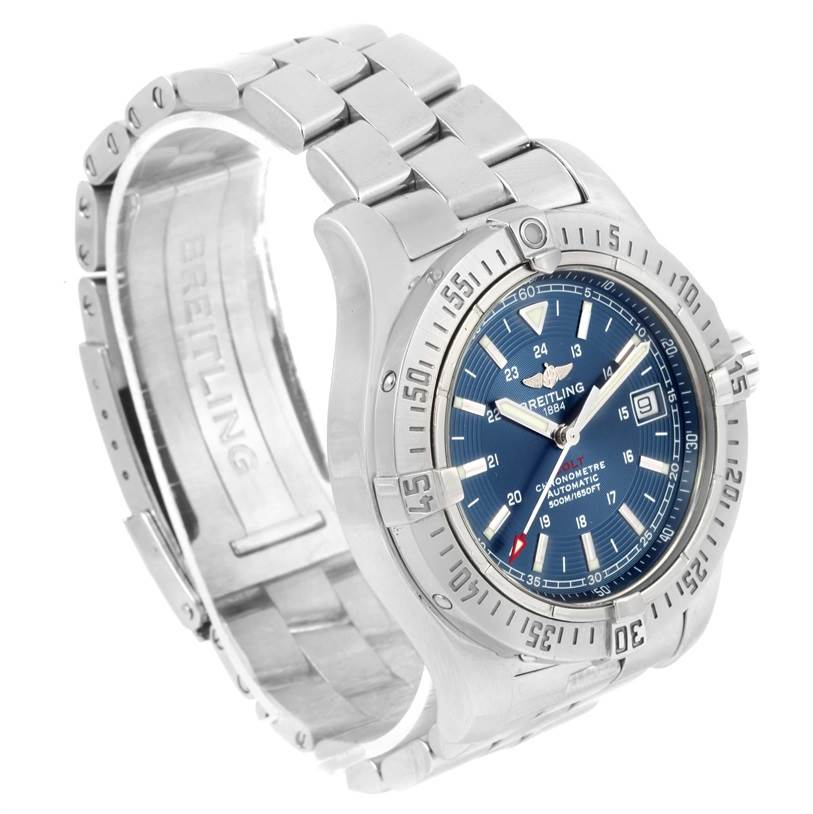 12300 Breitling Colt Automatic Stainless Steel Blue Dial Mens Watch A17380 SwissWatchExpo