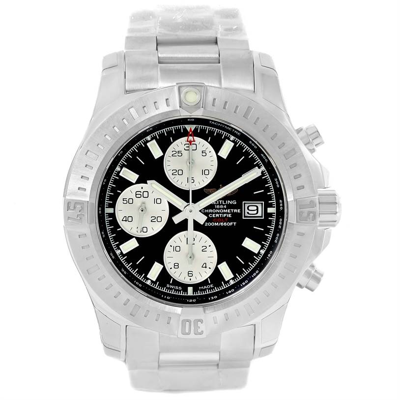 Breitling Colt Automatic Chronograph Black Dial Watch A13388 Unworn SwissWatchExpo