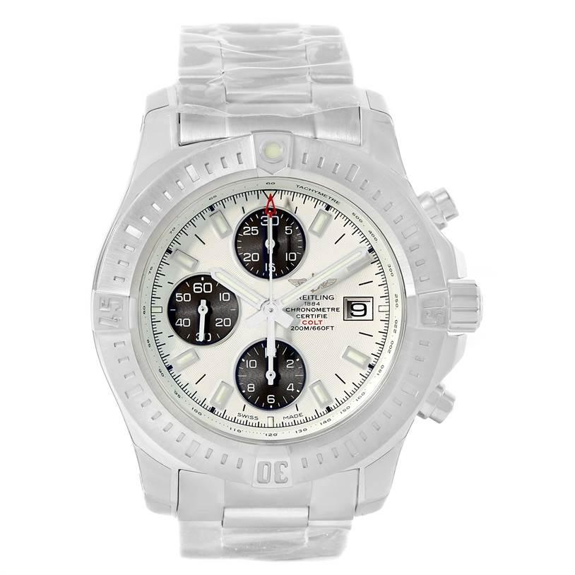 13223 Breitling Colt Automatic Chronograph White Dial Watch A13388 Unworn SwissWatchExpo