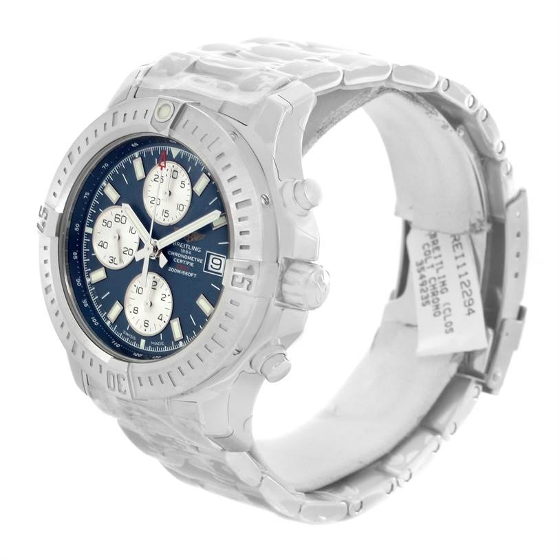13222 Breitling Colt Automatic Chronograph Blue Dial Watch A13388 Unworn SwissWatchExpo