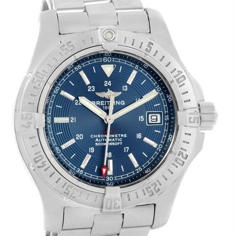 13279 Breitling Colt Automatic Stainless Steel Blue Dial Mens Watch A17380 SwissWatchExpo