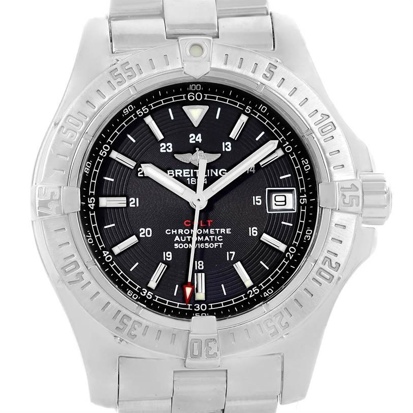 13309 Breitling Colt Automatic Stainless Steel Black Dial Mens Watch A17380 SwissWatchExpo